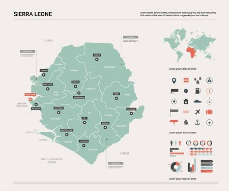Vector map of Sierra Leone;. Country map with division, cities and capital Freetown. Political map,  world map, infographic elements.