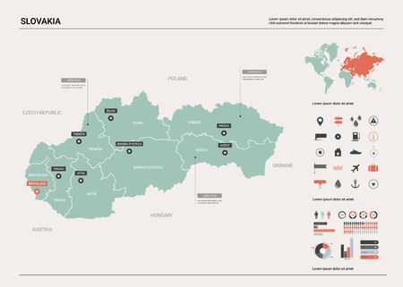 Vector map of Slovakia. Country map with division, cities and capital Bratislava. Political map,  world map, infographic elements.