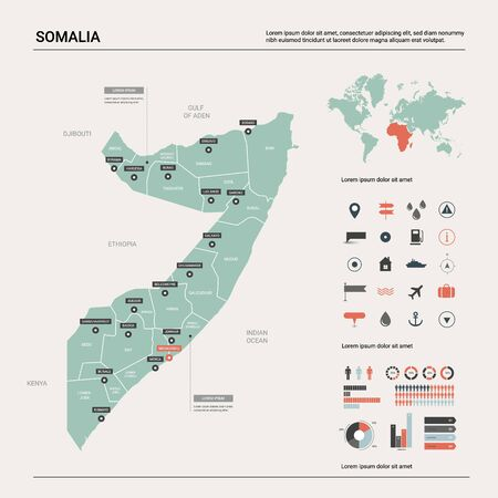 Vector map of Somalia. Country map with division, cities and capital Mogadishu. Political map,  world map, infographic elements. Ilustração