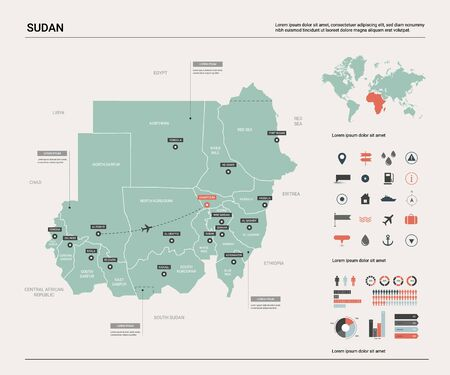 Vector map of Sudan. Country map with division, cities and capital Khartoum. Political map,  world map, infographic elements.