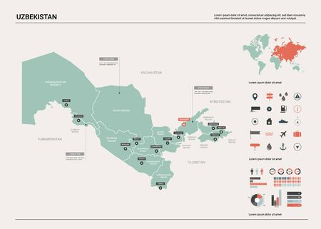 Vector map of Uzbekistan. Country map with division, cities and capital Tashkent. Political map,  world map, infographic elements.