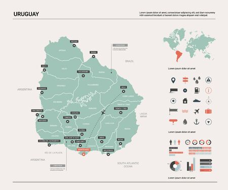 Vector map of Uruguay. Country map with division, cities and capital Montevideo. Political map,  world map, infographic elements.   Ilustração