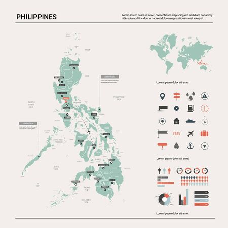 Vector map of Philippines. Country map with division, cities and capital Manila. Political map,  world map, infographic elements.