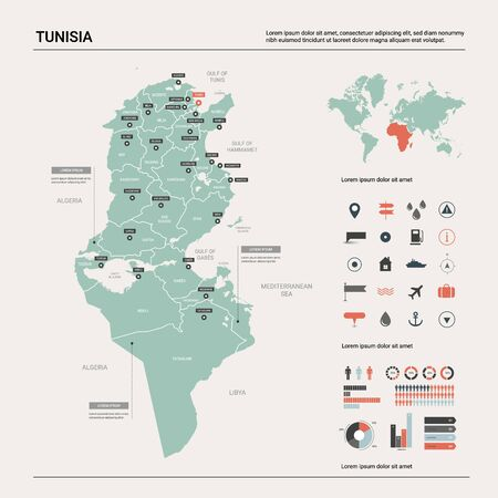 Vector map of Tunisia. Country map with division, cities and capital Tunis. Political map,  world map, infographic elements.