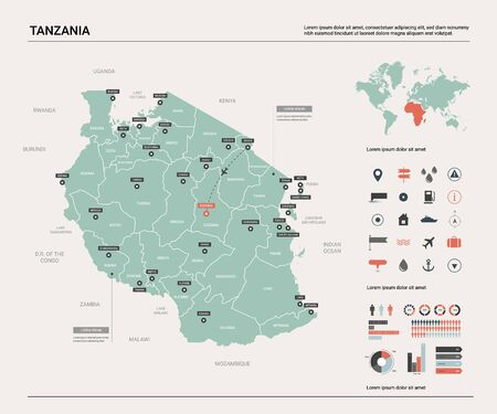 Vector map of Tanzania. Country map with division, cities and capital Dodoma. Political map,  world map, infographic elements.