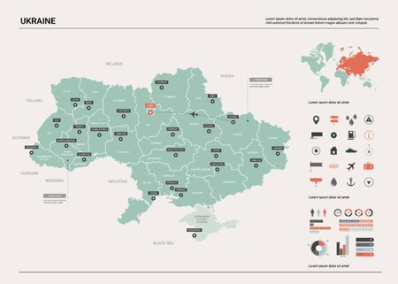 Vector map of Ukraine. Country map with division, cities and capital Kiev. Political map,  world map, infographic elements.