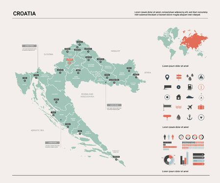 Vector map of Croatia. Country map with division, cities and capital Zagreb. Political map,  world map, infographic elements.