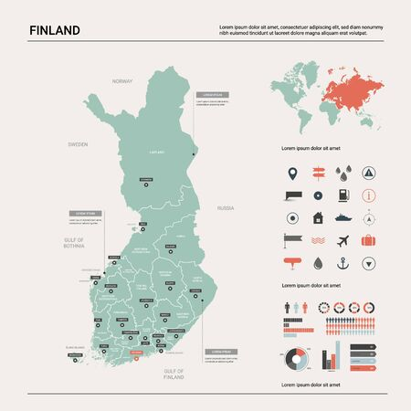 Vector map of Finland. Country map with division, cities and capital Helsinki. Political map,  world map, infographic elements.   Ilustração