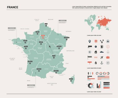 Vector map of France. Country map with division, cities and capital Paris. Political map,  world map, infographic elements.  Ilustração