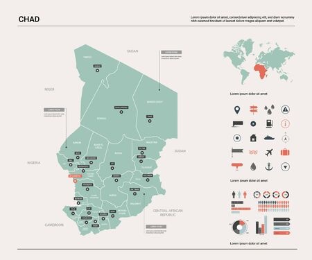 Vector map of Chad. Country map with division, cities and capital N'Djamena. Political map,  world map, infographic elements. Ilustrace