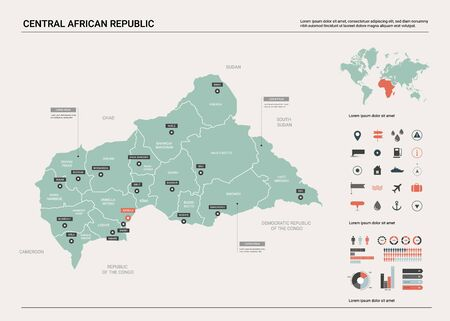 Vector map of Central African Republic. Country map with division, cities and capital Bangui. Political map,  world map, infographic elements.