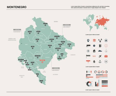 Vector map of Montenegro. Country map with division, cities and capital Podgorica. Political map,  world map, infographic elements.