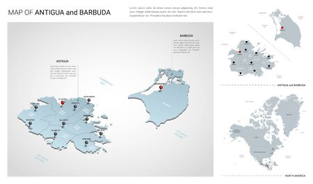Vector set of Antigua and Barbuda island.  Isometric 3d map, Antigua and Barbuda map, North America map - with region, state names and city names. Fonts : Myriad Pro, Roboto