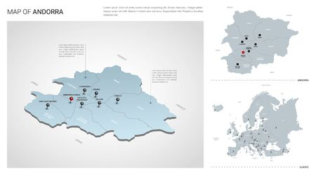 Vector set of Andorra country. Isometric 3d map, Andorra map, Europe map - with region, state names and city names. Fonts : Myriad Pro, Roboto