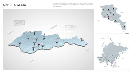 Vector set of Armenia country.  Isometric 3d map, Armenia map, Asia map - with region, state names and city names. Illustration