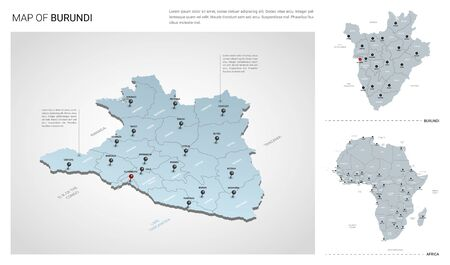 Vector set of Burundi country. Isometric 3d map, Burundi map, Africa map - with region, state names and city names.
