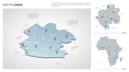 Vector set of Gabon country.  Isometric 3d map, Gabon map, Africa map - with region, state names and city names.