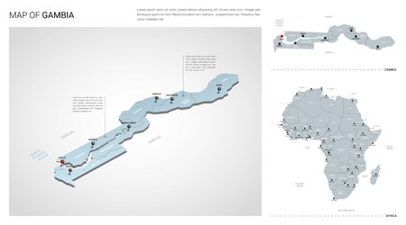 Vector set of Gambia country. Isometric 3d map, Gambia map, Africa map - with region, state names and city names.
