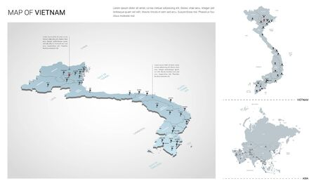 Vector set of Vietnam country. Isometric 3d map, Vietnam map, Asia map - with region, state names and city names.