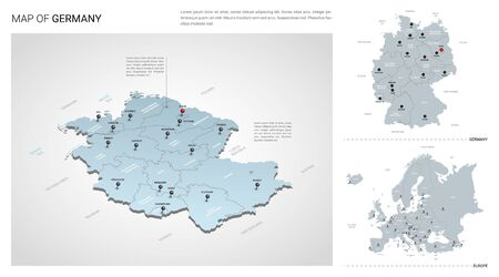 Vector set of Germany country. Isometric 3d map, Germany map, Europe map - with region, state names and city names.