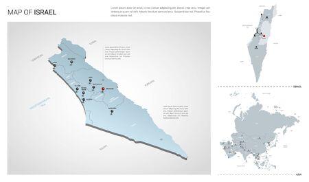 Insieme di vettore del paese di Israele. Mappa isometrica 3d, mappa di Israele, mappa dell'Asia - con regioni, nomi di stati e nomi di città.
