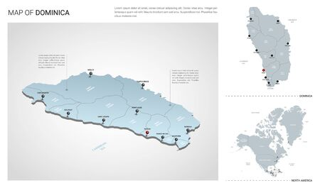 Vector set of Dominica country.  Isometric 3d map, Dominica map, North America map - with region, state names and city names. 向量圖像