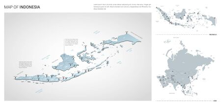 Vector set of Indonesia country.  Isometric 3d map, Indonesia map, Asia map - with region, state names and city names.