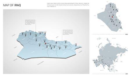 Ensemble de vecteurs du pays de l'Irak. Carte 3d isométrique, carte de l'Irak, carte de l'Asie - avec les noms de région, d'état et de ville. Vecteurs
