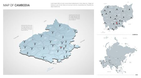 Vector set of Cambodia country.  Isometric 3d map, Cambodia map, Asia map - with region, state names and city names. Ilustração