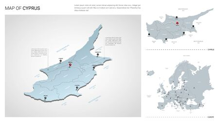 Vector set of Cyprus country.  Isometric 3d map, Cyprus map, Europe map - with region, state names and city names.