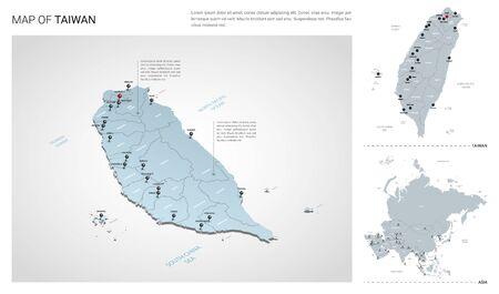 Ensemble de vecteurs du pays de Taïwan. Carte 3d isométrique, carte de Taïwan, carte de l'Asie - avec les noms de région, d'état et de ville.