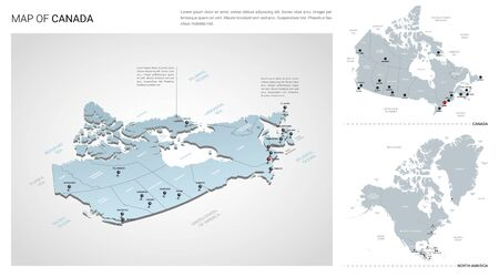 Vector set of Canada country. Isometric 3d map, Canada map, North America map - with region, state names and city names.
