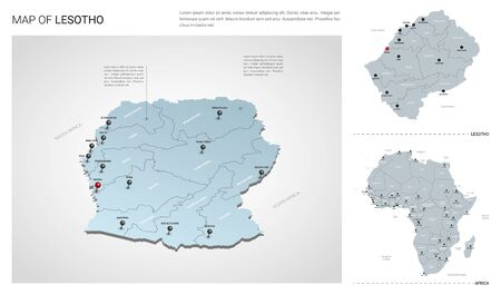 Vector set of Lesotho country.  Isometric 3d map, Lesotho map, Africa map - with region, state names and city names. Stock Illustratie