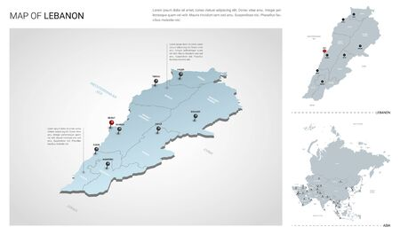 Vector set of Lebanon country.  Isometric 3d map, Lebanon map, Asia map - with region, state names and city names.