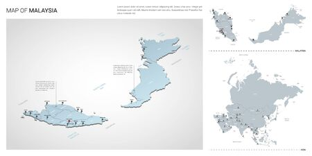 Vector set of Malaysia country.  Isometric 3d map, Malaysia map, Asia map - with region, state names and city names. Stock Illustratie