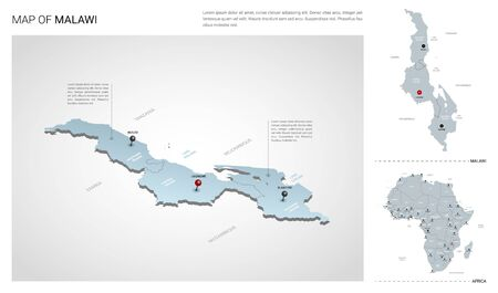 Vector set of Malawi country.  Isometric 3d map, Malawi map, Africa map - with region, state names and city names.