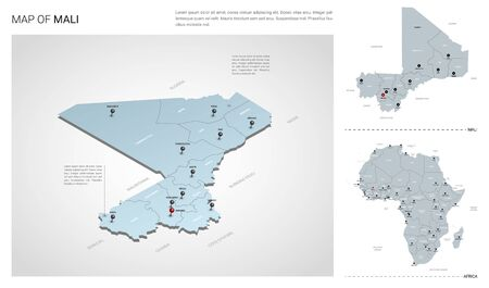 Vector set of Mali country.  Isometric 3d map, Mali map, Africa map - with region, state names and city names.