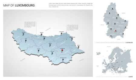 Vector set of Luxembourg country.  Isometric 3d map, Luxembourg map, Europe map - with region, state names and city names.