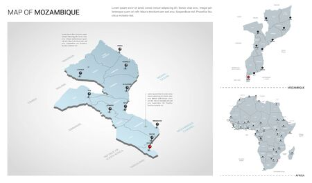 Vector set of Mozambique country.  Isometric 3d map, Mozambique map, Africa map - with region, state names and city names.