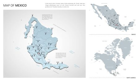 Vector set of Mexico country.  Isometric 3d map, Mexico map, North America map - with region, state names and city names. Stock Illustratie
