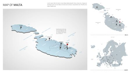 Vector set of Malta country.  Isometric 3d map, Malta map, Europe map - with region, state names and city names. 일러스트