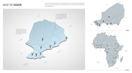 Vector set of Niger country.  Isometric 3d map, Niger map, Africa map - with region, state names and city names. Stock Illustratie