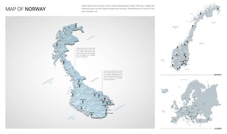 Vector set of Norway country.  Isometric 3d map, Norway map, Europe map - with region, state names and city names.