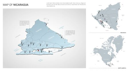 Vector set of Nicaragua country.  Isometric 3d map, Nicaragua map, North America map - with region, state names and city names.