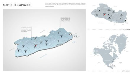 Vector set of El Salvador country. Isometric 3d map, El Salvador map, North America map - with region, state names and city names.