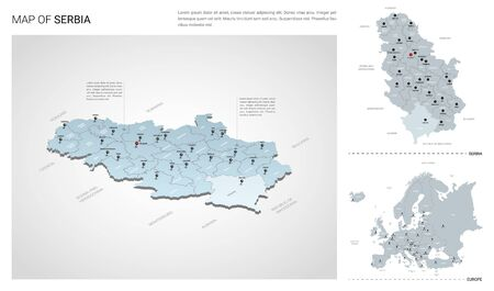 Vector set of Serbia country.  Isometric 3d map, Serbia map, Europe map - with region, state names and city names.