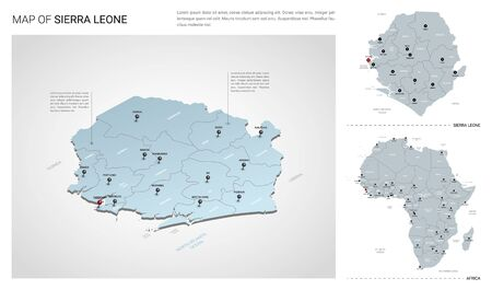 Vector set of Sierra Leone country.  Isometric 3d map, Sierra Leone map, Africa map - with region, state names and city names.