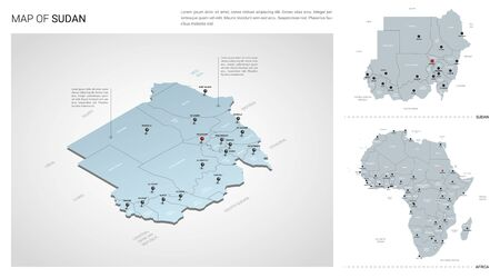 Vector set of Sudan country. Isometric 3d map, Sudan map, Africa map - with region, state names and city names.