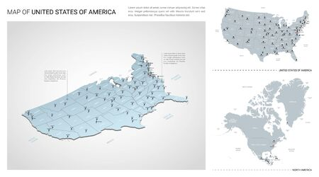 Vector set of United States of America  country.  Isometric 3d map, United States of America  map, North America map - with region, state names and city names.  イラスト・ベクター素材
