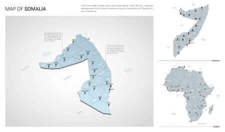 Vector set of Somalia country.  Isometric 3d map, Somalia map, Africa map - with region, state names and city names.